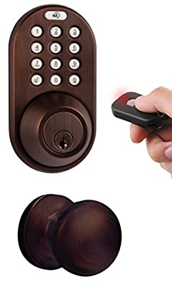 MiLocks XFK-02OB Digital Deadbolt Door Lock and Passage Knob Combo with Keyless Entry via Remote Control and Keypad Code for Exterior Doors, Oil Rubbed Bronze