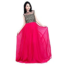 Awesome Fab Pink Colour Gorgette Partywear Designer Gown