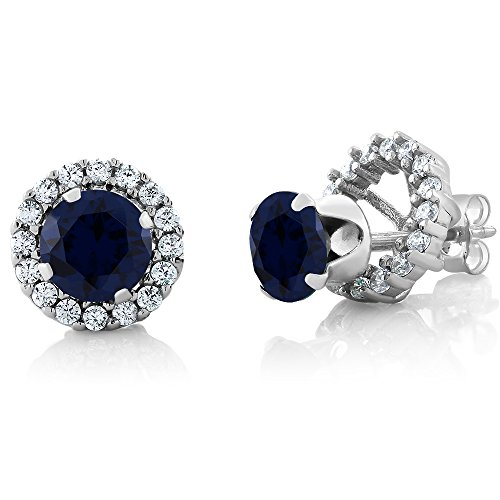 200-Ct-Round-6mm-Blue-Sapphire-925-Sterling-Silver-Gemstone-Stud-Earrings