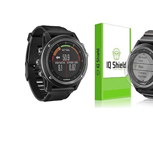 Garmin Fenix 3 HR Sapphire GPS Watch (Gray, Black Band) - IQ Shield LiQuidSkin (6-Pack) Full Coverage Screen HD Protector, Clear Anti-Bubble Film, KIT