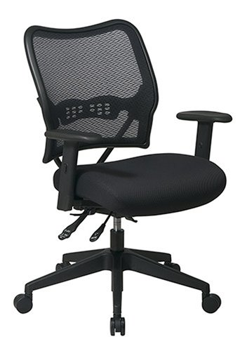 Office Star Space Deluxe Chair with Air-Grid Back and Mesh Seat, Black