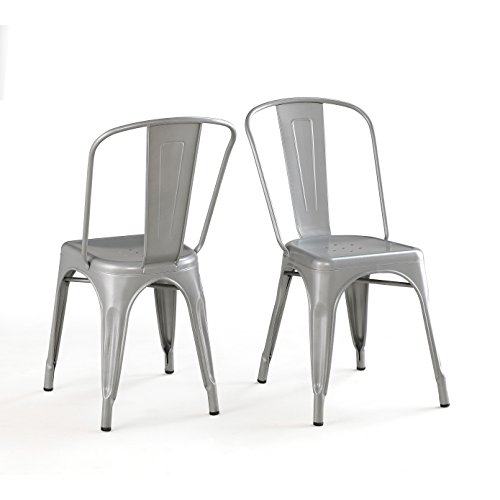 Belleze Set of (4) Vintage Style Dining Chairs Steel High Back Side (Silver) 2