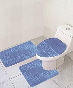 3 Piece Bath Rug Set Chain Pattern Bathroom Rug Light Blue 18 X28 Mat And 18 X18
