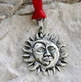Pewter Sun Moon Face Lunar Solar Celestial Pagan Christmas Ornament and Holiday Decoration