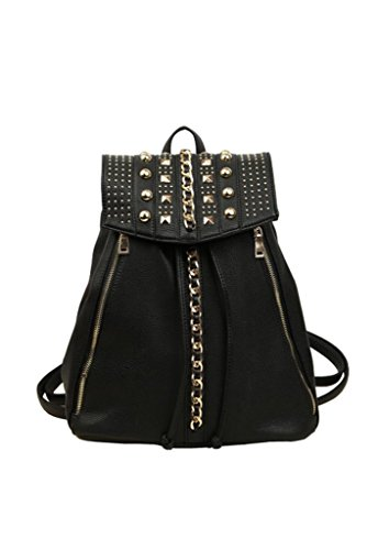 Omine Women'S Studs Spikes Zipper Tassel Top Handle Shoulder Straps Fashion Vintage Backpack Black