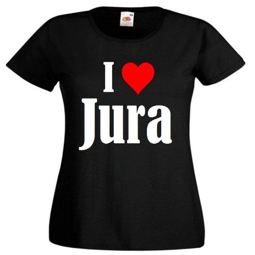 """Damen T-Shirt """"I Love Jura""""Größe""""L""""Farbe""""Schwarz""""Druck""""Weiss"""