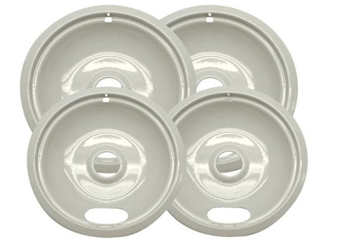 Range Kleen P10124Xa Porcelain Universal Drip Pans Set Of 4 Containing 2 Units P101A, P102A, Almond