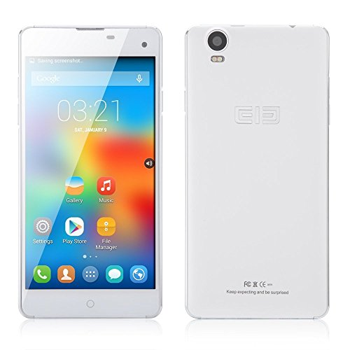 Elephone G7 5.5″ HD MTK6592 Octa Core Android 4.4 Cell Phone 1GB RAM 8GB ROM 13MP Dual SIM Ultra Thin WCDMA Smartphone (White)
