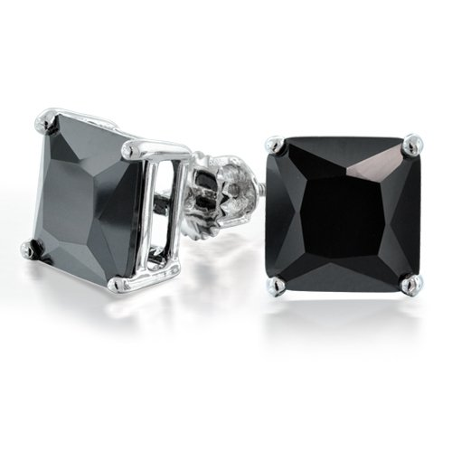 Bling Jewelry CZ Princess Cut Black Sterling Silver Screw Back Stud Earrings 8mm