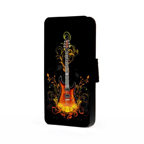 Fire Electric Guitar Art - Samsung Galaxy S4 Trifold Wallet Case