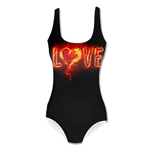 Fiery love burning flames Womens Swimsuit L