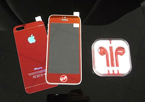 Super Space Premium Metallic Bright Plated Real Tempered Front And Back Screen Protectors Colorful Transformed Kit, 9H Strong, 0.3 Mm Thin, New Design For Apple® Iphone® 5 / Iphone® 5S, Verizon, At&T, Sprint, T-Mobile (Red - Front & Back (Full Red))