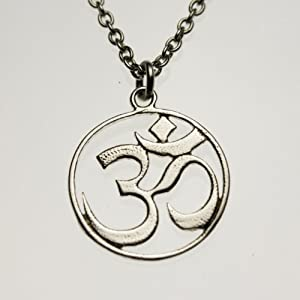 Delicate Om Silver-dipped Pendant Necklace on 18