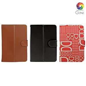 Gini 7 inches Flip cover forZync Z930 Tablet Combo of Black, DD text Red & Brown