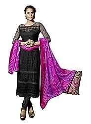 Suchi Fashion Embroidered Black Georgette Dress Material