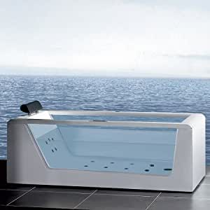 Contemporary Whirlpool Bathtub in White (70.47 in.