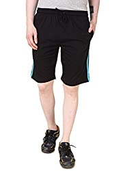 Aventura Outfitters Single Jersey Shorts Black with Two Sky Blue Stripes - XXL (AOSJSH308-XXL)