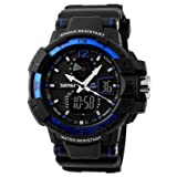 Happy Digital@ Men's Digital Quartz Rubbber Waterproof Military Watches(blue)