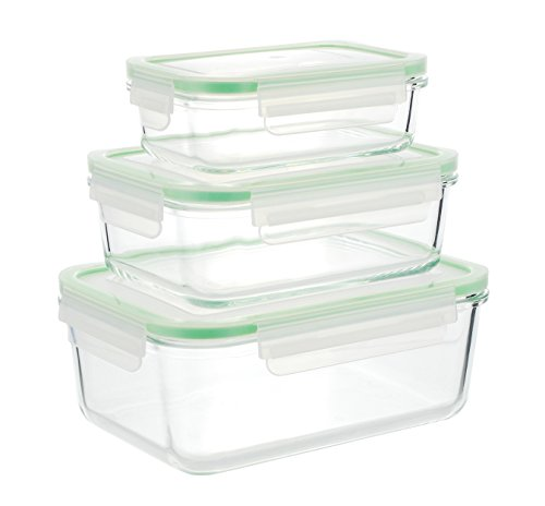 Kinetic GoGREEN Glassworks Series 6-Piece Rectangular Oven Safe Glass Food Storage Containers with Locking Lids (3 Containers and 3 Lids) 01317 (Lock And Seal Glass Containers compare prices)