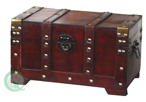 Quickway Imports Antique Style Wooden Trunk, Small