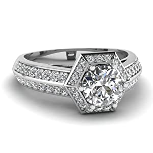 1.20 Ct Round Cut:Ideal SI2-H Color Diamond Hexad Halo Engagement Ring Pave Set GIA Certificate # 2155527923
