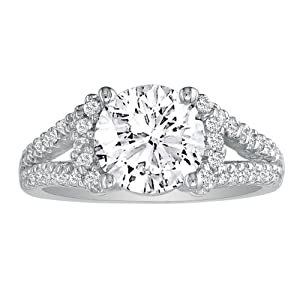 Very Fine 2ct Round Center Diamond Engagement Ring in 14K White Gold, Available Ring Sizes 5 - 9, Ring Size 9