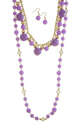 The Jewel Rack Acrylic Ball Layer Necklace Set (Lavender)