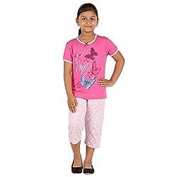 FICTIF Kid Girl's Light Pink Color Top & Capri Set