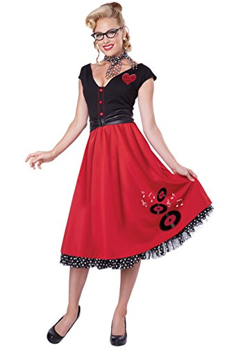 Mememall Fashion 1950s Nifty Sweetheart Poodle Dress Grease Adult Women Costume (Girls Nifty 1950s Costume)