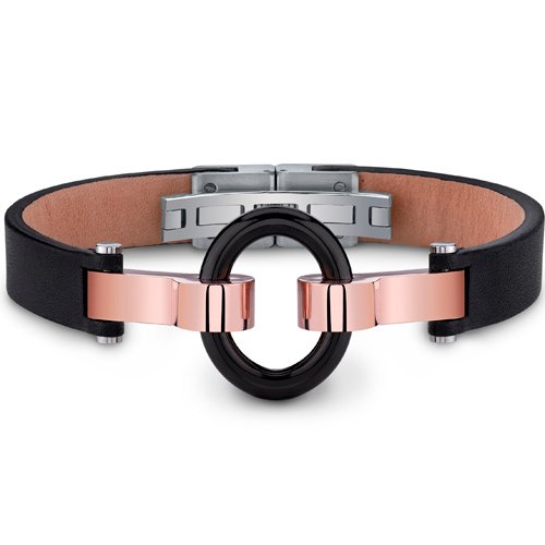 Mens Stainless Steel and Leather Bracelet with Black Ring and Rose-Gold Accents Free Shipping