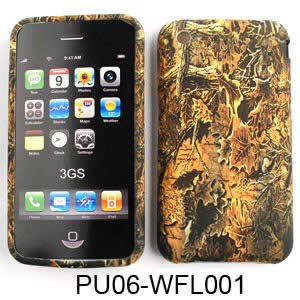 Apple iPhone 1G/2G/3G/3GS PU Skin, Camo/Camouflage Hunter Series Dry Leaf Silicone/Gel/Soft/Cover/Case