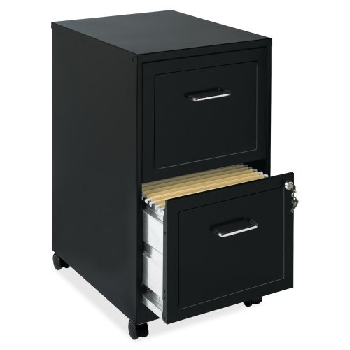 Lorell 16872 2-Drawer Mobile File Cabinet, 18-Inch (Black Wood File Cabinet compare prices)