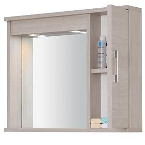 Specchiera mobile bagno arredo design moderno un anta luce illuminazione 606041 casa - Specchiera bagno amazon ...