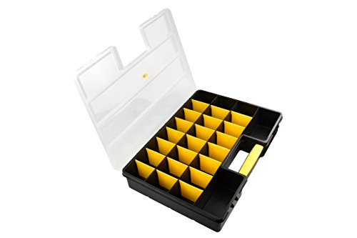 SE 87322DB 26 Compartment Plastic Storage Box with Adjustable Sections, 18