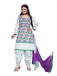 Divisha Fashions White and Multi Colour Embroidered Dress Material with dupatta