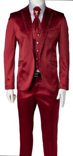 Mens Red Shiny Wedding Party Suit Sequins Design 4 Piece