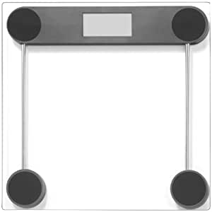 Precision Digital Bathroom Scale with Edge-tap Technology and Modern Black Square Glass Design, 330lb Capacity, Batteries Included