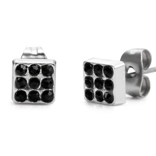 Unique Stainless Steel Black Cubic Zirconia Stones Mens Stud Earrings