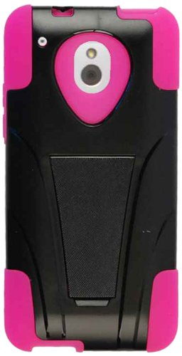 Cell Armor Hybrid Fit-On Jelly Case for HTC One Mini - Retail Packaging - Magenta Skin and Black Snap with Stand