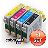 T0715 MULTIPACK - EPSON COMPATIBLE Ink Cartridges for Epson Stylus SX200 - 1 Full Set Of High Capacity Inks (T0711/T0712/T0713/T0714) by Cobra Inksby cobrainks