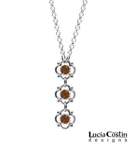 .925 Sterling Silver Flower Pendant Amazingly Designed by Lucia Costin with 4 Petal Flowers Surrounded by Dots, Enriched with Brown Swarovski Crystals
