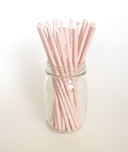 Pink Chevron Design Straws - 25 - Dress Up Drinks At A Baby Shower, Anniversary Event Or Baptism front-854369