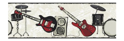 York Wallcoverings Candice Olson Kids CK7781B Rock N Roll Border, Red/Black