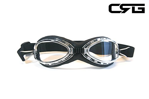 CRG Sports Vintage Aviator Pilot Style Motorcycle Cruiser Scooter Goggle T06 T06SC-1 Transparent lens, black padding 0