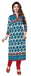 PADMiNi Ethnicwear Women's Dress Material Turquoise Free Size