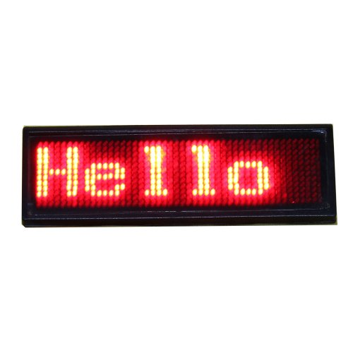 Leadleds Rechargeable Red Led Programmable Badge With Usb Programming * Window 8 Compatible