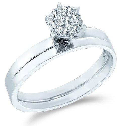 10k White Gold Diamond Ladies Womens Classic Traditional Bridal Engagement Ring With Matching