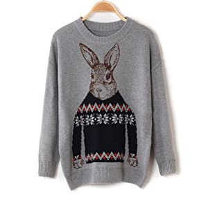 Peter Rabbit Jacquard Sweaters Christmas Women Tops Long Sleeve Knitted Gray from BLACK SUN