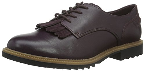 Clarks Griffin Mabel - Scarpe Stringate Donna, Viola (Aubergine Leather), 38 EU