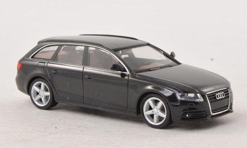 Audi-A4-Avant-met-schwarz-Modellauto-Fertigmodell-Herpa-187